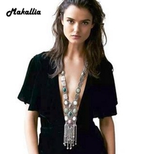 Bohemian long popular element tassel necklaces female accessories pendant multi-level pendant of pearls