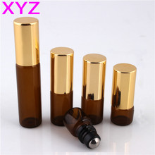 5pcs/lot 1ml Amber Glass Roll on Bottle,Mini 1cc Perfume Bottle with Stainless Steel Roller Ball Essential Oils Bottle