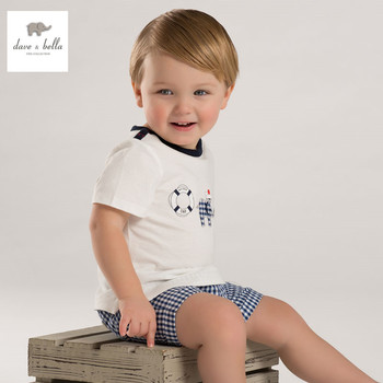 DB3536 dave bella bebê verão menino impresso camiseta de algodão menino roupas infantis toddle tees meninos azul encabeça crianças t-shirt