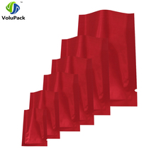 Multi Sizes 100pcs Heal Sealing Mylar Foil Red Packing Flat Pouches Waterproof Tear Notch Open Top Storage Bags