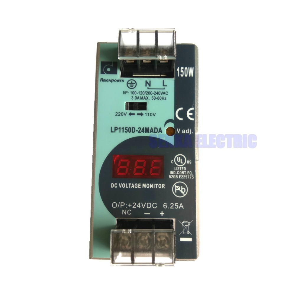 150W 24V 6.25A Impact Din Rail Single Output Switching Power Supply with Voltmeter Voltage Indicate Input 100-240V <br>
