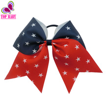 New Product 4th Of July Cheer Bow For Girls Children Patriotism High Quality Elastic Hair Band Stars Headwear