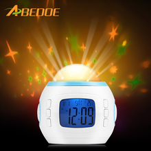 ABEDOE Projecting Alarm Clock Color Gradual Change Star Music Alarm Clock with Backlight Night Light for Kid Room Home Decor(China)