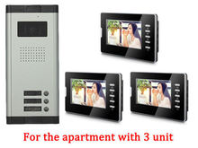 Apartment 3 Units Wired Video Door Phone Audio Visual Entry Intercom System 1V3