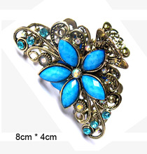 S10  8*4.8CM Natural stone & Resin Crab Clamp Style Lady Girl Daisy Flower Hair Claws & Hair Jewelry