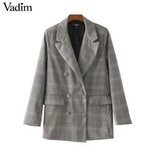 Vadim Women Plaid Blazer Casual Suit Blazer Notched Collar Double Breasted Long Sleeve OL Work Design Coat Outwear CT1539(China)
