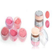 Women Girls 3D Pure Mineral Face Cheek Blush Blusher Powder Cosmetic With Sponge Portable 2 in 1 Makeup WY5