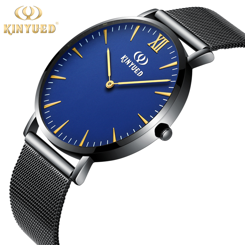 Simple Men Watch Ultra Thin Blue Black 3D Pointers Quartz Mens Watches Metal Band Hardlex dial 3bar Waterproof Horloges Mannen<br><br>Aliexpress