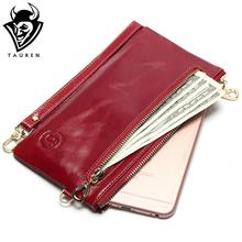 2017 New Women's Slim Wallets Mini Small Handbag Leather Simple Leather Hand Grasping Coin Purse Mobile Phone Packet(China)