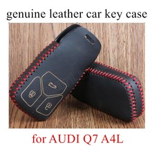 for AUDI Q7 A4L car styling genuine quality leather car key case cover sewing hand best price(China)