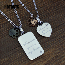 STN443 Titanium Steel Shiny Crystal Heart Dog Tag Promise Necklace Pendants For Men Women Black/ Gold Color Footprint Pendants
