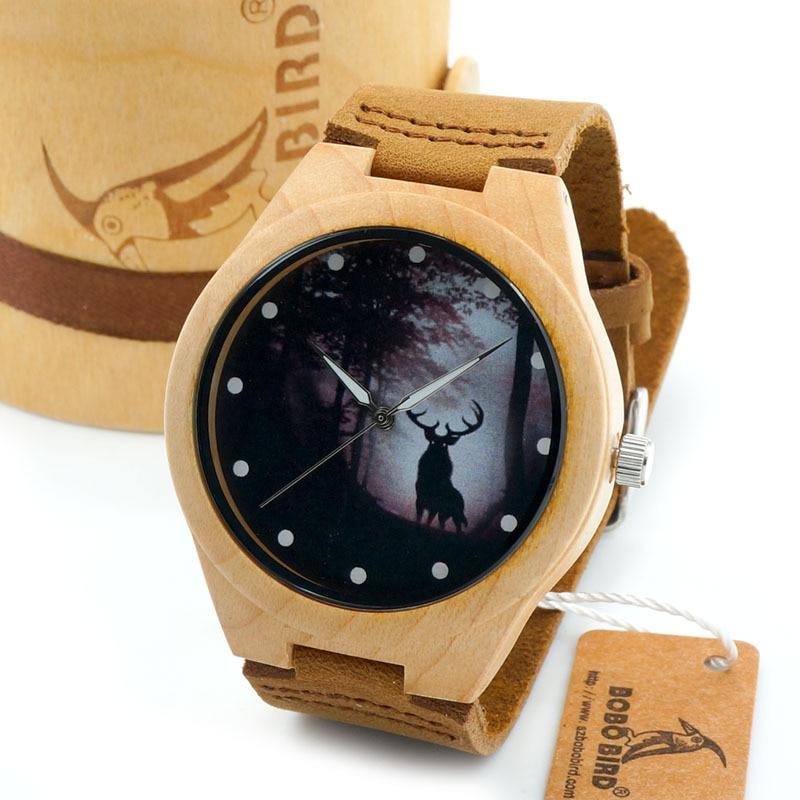 BOBO BIRD G10 Mens Maple Wood Watch Winter Reindeer Dial  Wooden Quartz watches in Gift Box reloj hombre 2016<br><br>Aliexpress