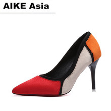 Buy 2018 Zapatos Mujer Pointed Toe Thin High Heels Sandals Mixed Color Single Shoes Woman Stiletto Dress Women Pumps #996 for $10.99 in AliExpress store