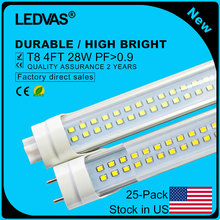 Stock in US LEDVAS T8 LED Tube Lights 4Ft 1200mm 1.2m 28W LED Bulb Double Rows 288pcs LEDs Free Shipping 25-Pack(China)