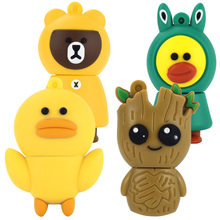 LEIZHAN 2.0 Cute Silicone Duck Groot Bear USB Flash Drive 16GB Pendrive 8GB External Memory Stick USB 2.0 Pen Drive 64GB Disk 4G(China)