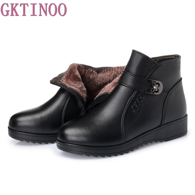 Women Boots 2018 Fashion Shoes Woman Genuine Leather Wedges Ankle Boots Winter Warm Fur Snow Boots Womens Shoes<br>