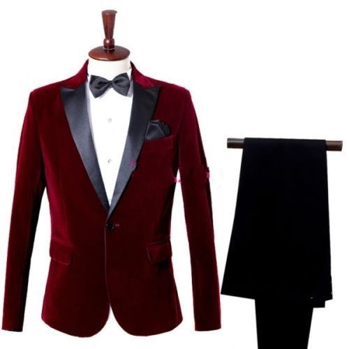 Men's Suits Burgundy Jacket Black Lapel One Button Formal Groom Wedding Tuxedos