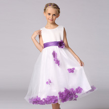 Flowers Girl Dresses Rose Petal Wedding Dress Easter Bridesmaid For Baby Children Toddler Teen Girls Frocks 4 6 8 10 12 14 Years