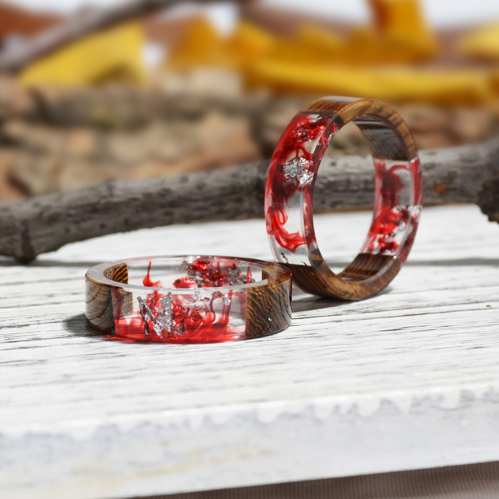 Clear Wood Resin Ring Handmade Dried Flower Hand Jewellery 21