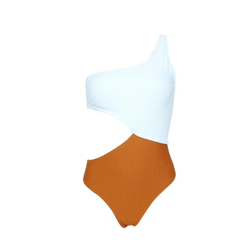 cintura Sexy cortado amarillo alta traje acanalado Trikini blanco de JFK1Tlc