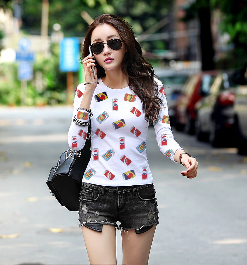 New spring woman undershirts Women's Clothing female long sleeved T-shirt Korean clothes fashion Student Tops & Tees