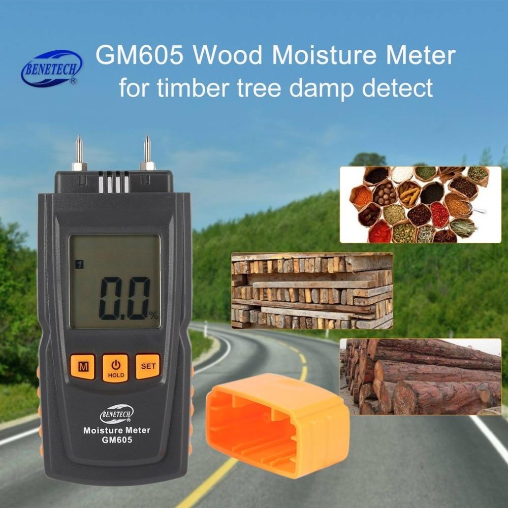 BENETECH GM605 Digital LCD Display Wood Moisture Meter Humidity Tester Timber Paper Tree Damp Detector 2 Pins Hygrometer