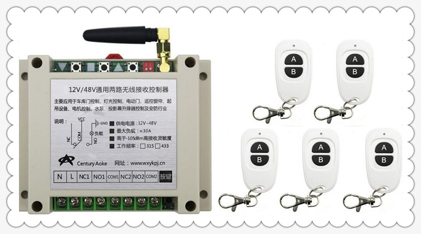 New DC12V 24V 36V 48V 10A 2CH RF Wireless Switch Relay Receiver Remote Controllers &amp; 5* White AB keys Waterproof Transmitter<br>