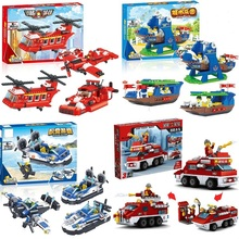 Single Sale 3in1 Plastic building block set Sport car/Fire truck/Airplane/Autobus/racer Kids Bricks toys Kids Best Xmas Gifts