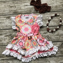 Summer baby girls outfits children Doughnut cotton dress girls lace ruffle boutique dress cute dress matching accessories