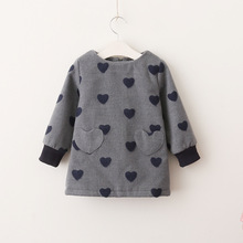 Everweekend Kids Girls Sweet Heart Baby Cute Lovely Holiday Dress Western Children Girls Grey Red Color New Dress
