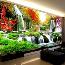 180*80 Diamond Painting Water Will Amass Wealth Diy Diamond Embroidery A landscape Like Cornucopia Decorated Living Room 61350(China)