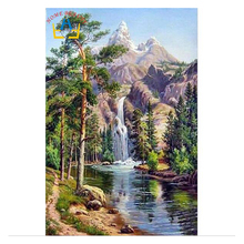 Practical oil paint painting by numbers diy picture waterfall drawing on canvas oil painting by hand coloring landscape