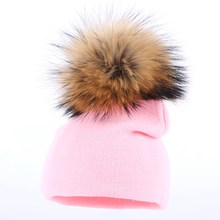 high quality mink pompom winter hat for baby girl boy children fashion skullies 0-3 year old kids casual cotton beanies gorros(China)