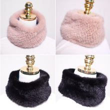 New Womens Real Knitted Mink Muffler Ladies Natural Mink Fur Scarf Winter Solid Neckerchief