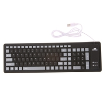 Foldable Keyboard to Tablet Waterproof USB Wired 103 Keys Silicone Soft Keyboard(China)