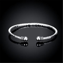 Wholesale 925 Jewelry Sterling Silver Women Bangle Bracelet Nail Pattern Bead Head Bangle Wedding Party Gift