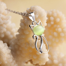 Cats pendent Necklace Cute real 925 sterling Silver Pendent Necklace Jewelry with opal For Girls Woman S0002