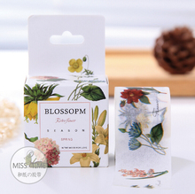 JC305  3CM Wide Blossom Retro Flowers Washi Tape Adhesive Tape DIY Scrapbooking Sticker Label Masking Tape