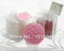 Free Shipping 1 X White/Red/Pink Wedding Rose Ball Candle Smokeless Candle Birthday Wedding Party Supply