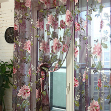 250cm x 100 cm Floral Tulle Door Window Curtain Sheer For the hotel coffee shop Living Room Children Bedroom Wedding Decoration