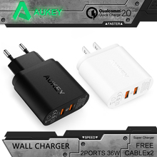 AUKEY Quick Charger QC 2.0 Dual ports 36W USB Turbo Wall Charger Adaptor for Samsung Galaxy s8 Sony HTC Xiaomi Fast Charger(China)