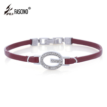 2016 New Arrival Handmade Wristband Thin Leather Bracelet Luxury Cubic Zirconia Bangle Bracelet For Women Men Gifts (HS112002)
