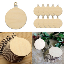 Wholesale 10Pcs DIY Home Decors Tag Shapes Art Craft Ornaments Wooden Round Bauble Hanging Christmas Tree Blank Decorations Gift