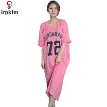 Modal Cotton Girl Sleepwear Summer Nightwear Long 72 Number Print Sleepskirts Casual Nightgown Loose Dress M-XXL SY562(China)