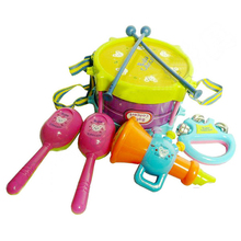 new fine 5pcs/set Musical Instruments Playing Set Colorful Educational baby Toys Drum/Handbell /Trumpet/Sand Hammer/Drum Stick(China)