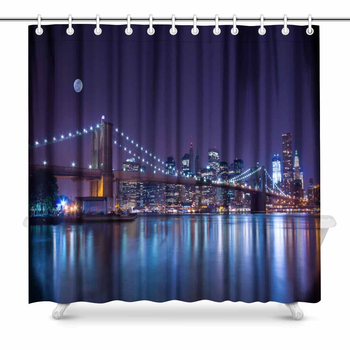 New York Brooklyn Bridge 3D Blockout Photo Printing Curtains Draps Fabric Window