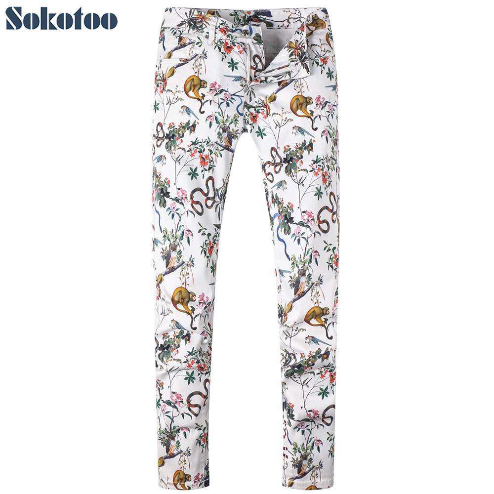 Sokotoo Mens fashion snake monkey animals print jeans Casual colored painted white stretch denim pantsÎäåæäà è àêñåññóàðû<br><br>