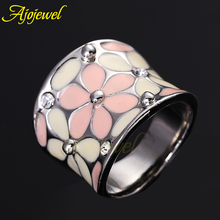 Ajojewel #7-9 High Quality Elegant Pink Jewelry Sweet Style Big Women Enamel Flower Ring Band With CZ(China)