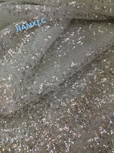 nice looking David-120929 african tulle laces fabric Nigerian lace fabric with sequins(China)