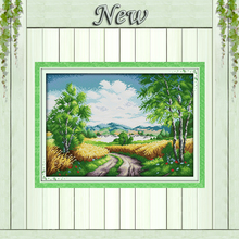 Beautiful Country road rural field Scenery,Counted print on canvas DMC 14CT 11CT DMS Cross Stitch Needlework kits Embroidery Set